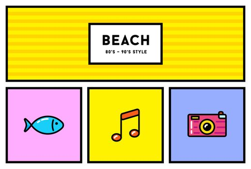 Vector 80s or 90s Stylish Icon Set with Retro Colours