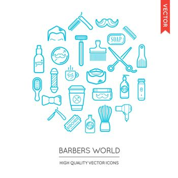 Vector Set of Barber Shop Modern Flat Thin Icons Inscribed in Round Shape
