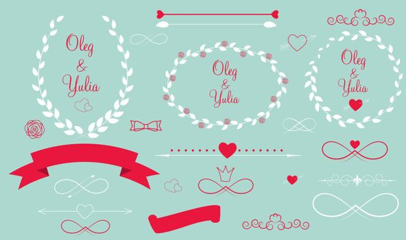 Set of Wedding Graphic Elements with Arrows, Hearts, Laurel,  Ribbons and Labels Vector Illistration