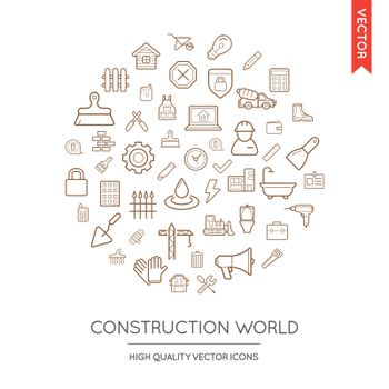 Vector Set of Construction Modern Flat Thin Icons Inscribed in Round Shape