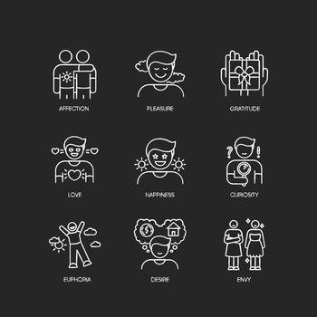 Feelings and emotions chalk white icons set on black background