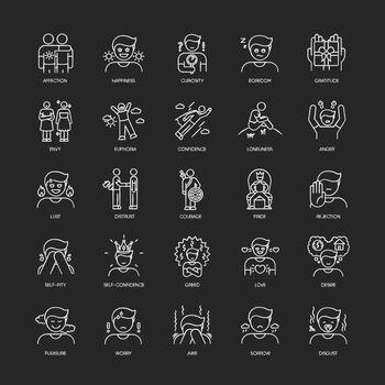 Human feelings chalk white icons set on black background