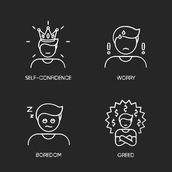 Negative emotions and bad feelings chalk white icons set on black background