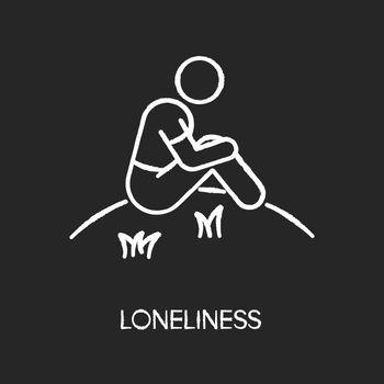 Loneliness chalk white icon on black background