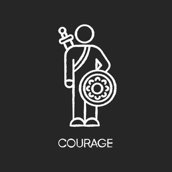 Courage chalk white icon on black background