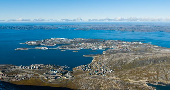 Greenlands capital Nuuk - largest city in Greenland aerial view