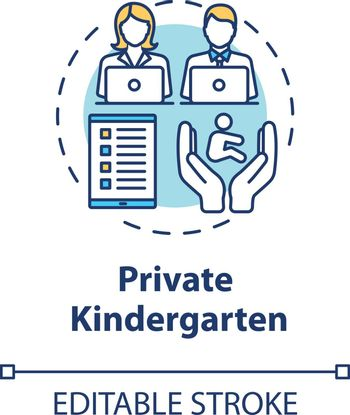 Private kindergarten concept icon. Early childhood education. Child care. Toddlers preschool center idea thin line illustration. Vector isolated outline RGB color drawing. Editable stroke