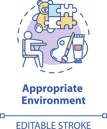 Appropriate environment concept icon. Preschool education. Safe and protected baby care centers idea thin line illustration. Vector isolated outline RGB color drawing. Editable stroke