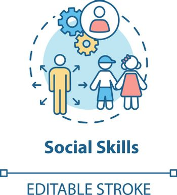 Social skills concept icon. Kids socialization. Friends making and interaction. Children development idea thin line illustration. Vector isolated outline RGB color drawing. Editable stroke