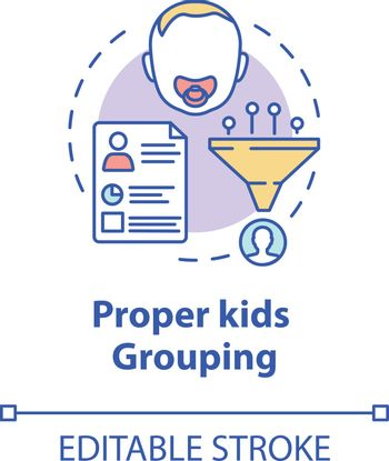 Proper kids grouping concept icon. Social interaction. Socialization skills. Children groups by abilities idea thin line illustration. Vector isolated outline RGB color drawing. Editable stroke
