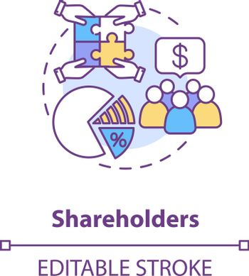 Shareholders concept icon. Corporation members, crowdfunding. Investing money in business. Stockholders idea thin line illustration. Vector isolated outline RGB color drawing. Editable stroke
