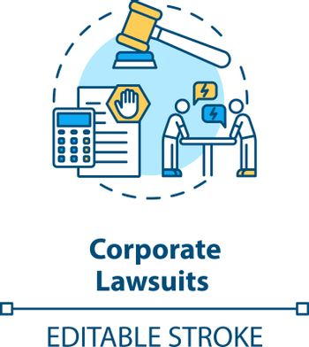 Corporate lawsuit concept icon. Business and legal consulting service. Proceeding in court of law idea thin line illustration. Vector isolated outline RGB color drawing. Editable stroke