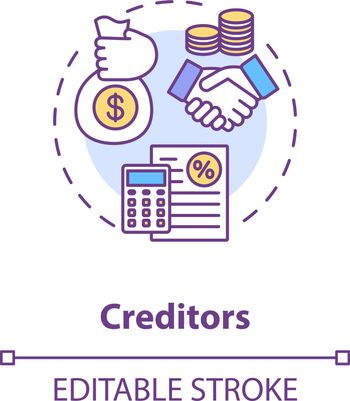 Creditor concept icon. Money loan. Business investment. Company liability. Corporate and financial management idea thin line illustration. Vector isolated outline RGB color drawing. Editable stroke