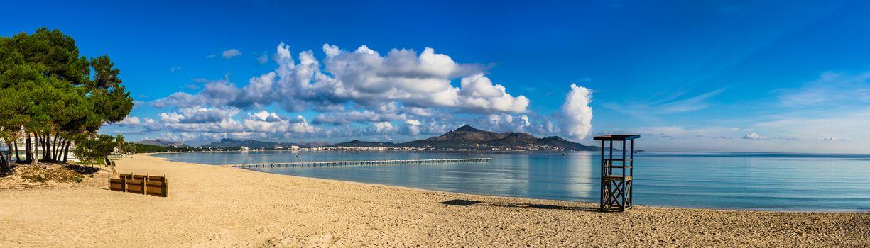Spain beach panorama on Majorca island at bay of Alcudia, Balearic Islands, Mediterranean Sea