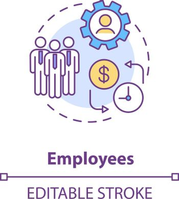 Employees concept icon. Corporation members. Office workers. Business management. Employment law. Subordinates idea thin line illustration. Vector isolated outline RGB color drawing. Editable stroke
