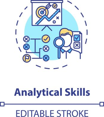 Analytical skill concept icon. Good lawyer and businessman requirement. Information analyzing ability idea thin line illustration. Vector isolated outline RGB color drawing. Editable stroke