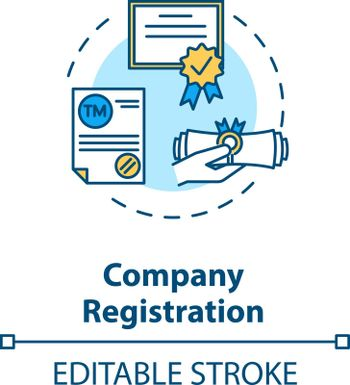 Company registration concept icon. Incorporation procedure. Company formation agent. Paper process idea thin line illustration. Vector isolated outline RGB color drawing. Editable stroke