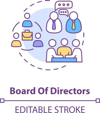 Board of directors concept icon. Corporation members. Company CEO. Business management. Shareholders idea thin line illustration. Vector isolated outline RGB color drawing. Editable stroke