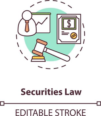 Securities law concept icon. Official document. Issuance of securities. Legally enforceable contract idea thin line illustration. Vector isolated outline RGB color drawing. Editable stroke