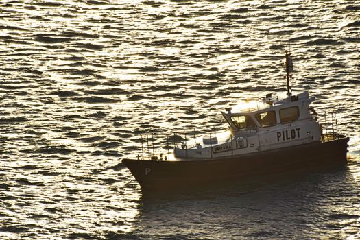 Aruba, December 2014: Pilot boat manoeuvring in to position in harbour as the sun sets