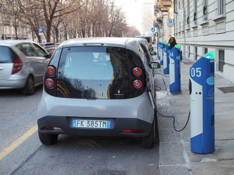 TURIN, ITALY - CIRCA DECEMBER 2019: electric car charging station