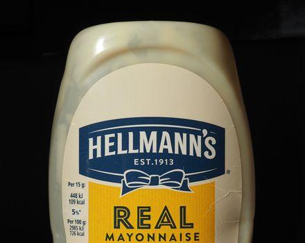 NEW YORK, USA - CIRCA JANUARY 2020: Hellmann's mayonnaise bottle