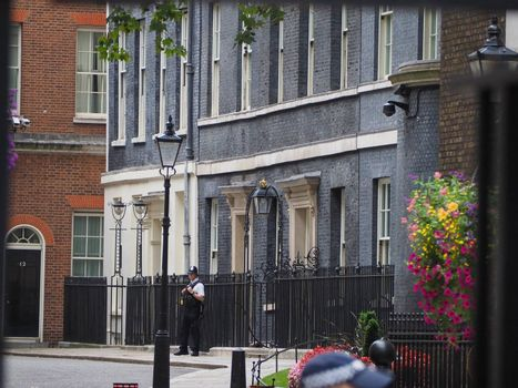 LONDON, UK - CIRCA SEPTEMBER 2019: Number 10 Downing Street headquarters of the Government and official residence of the Prime Minister of the United Kingdom