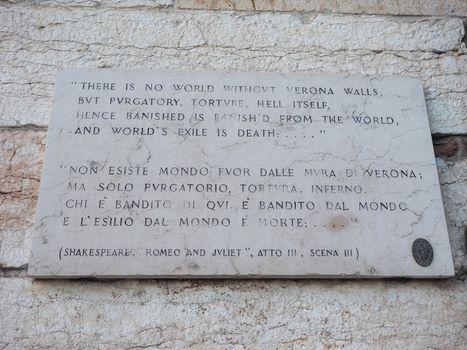 Shakespeare plaque in Verona
