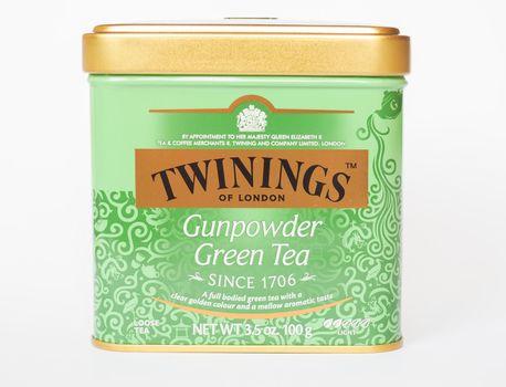 LONDON - AUG 2019: Twinings Gunpowder Green tea
