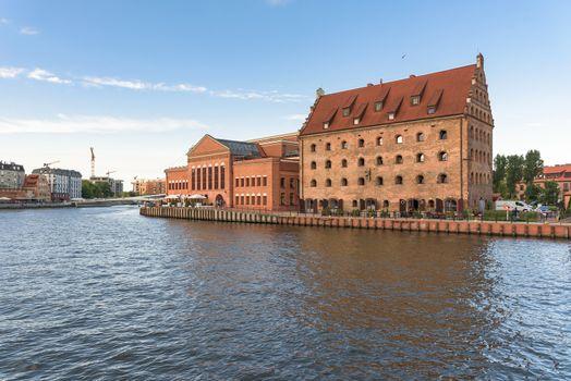Brick buildings at Motlawa river in Gdansk downtown, Poland