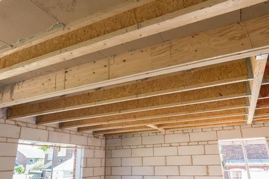 Room construction showing joists truss
