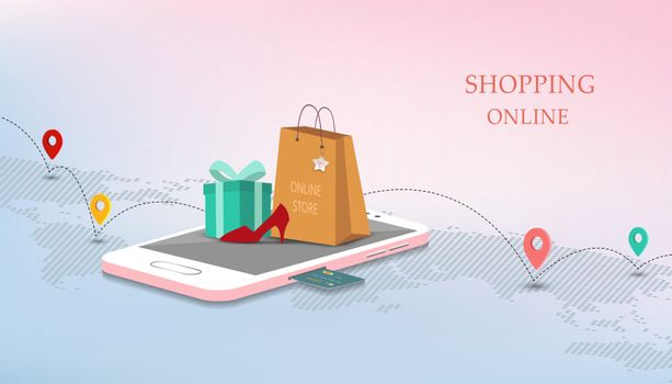 Mobile shopping online with credit card,marketing and digital concept on isometric style,vector illustration