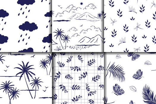 Nature hand drawn collection on monotone blue seamless pattern for decorative,fabric,textile,print or wallpaper,vector illustration