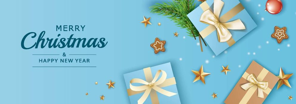 Merry christmas and happy new year greeting card banner template with blue gifts box and gold star background. Use for header website, cover, flyer.