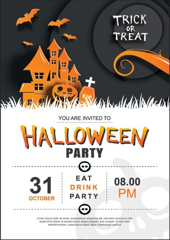 Halloween invitation party poster template. Use for greeting car