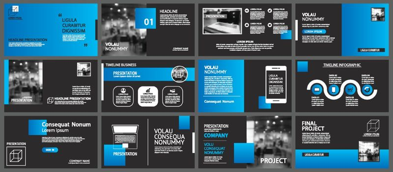 Presentation and slide layout background. Design blue and black circle template. Use for business annual report, flyer, marketing, leaflet, advertising, brochure, modern style.