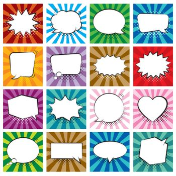 Set of comic speech bubbles on colorful background and halftone