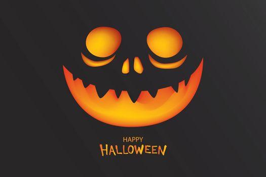 Halloween party invitation with pumpkin in dark background. Desi