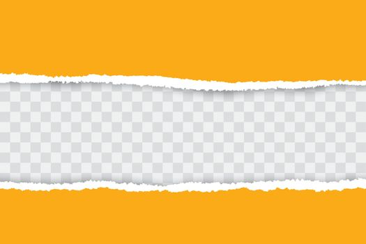 Yellow ripped paper background with transparency place for your