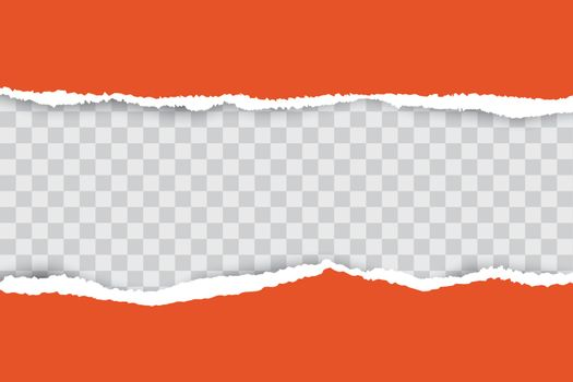 Orange ripped paper background with transparency place for your