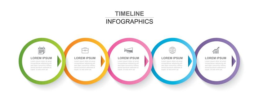 5 circle infographic with abstract timeline template. Presentation step business modern background.