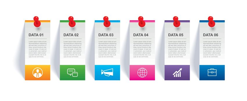 Infographics tab in vertical paper index and pin with 6 data template. Vector illustration abstract background. Can be used for workflow layout, business step, banner, web design.