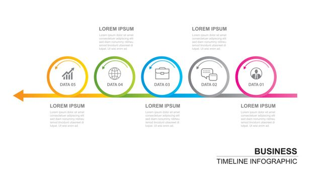 5 circle infographic with abstract timeline template. Presentati