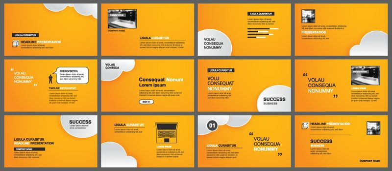 Presentation and slide layout template. Design orange and clouds in paper style background. Use for business annual report, keynote, flyer, marketing, leaflet, advertising, brochure.