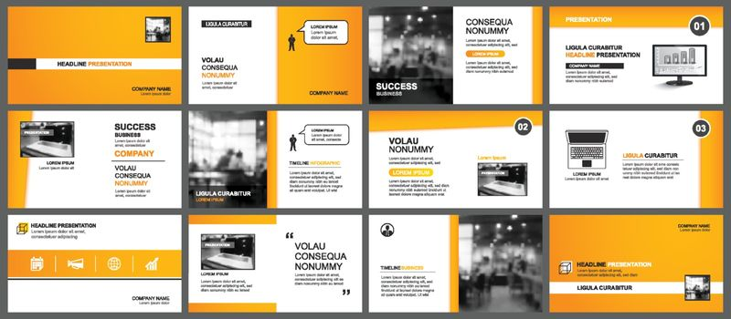 Presentation and slide layout template. Design orange keynote in paper style background. Use for business annual report, flyer, marketing, leaflet, advertising, brochure.