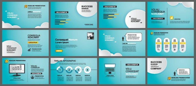 Presentation and slide layout background. Design blue sky and clouds template. Use for business annual report, flyer, marketing, leaflet, advertising, brochure, modern style.