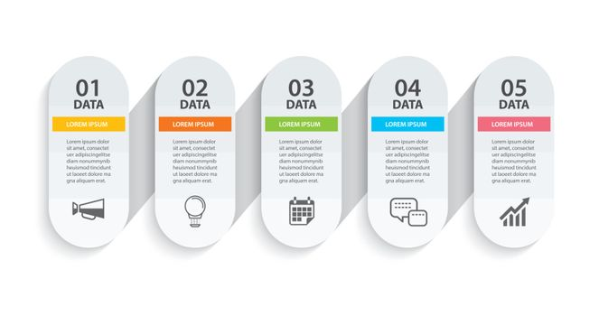 Oval infographics timeline paper with 5 data horizontal template