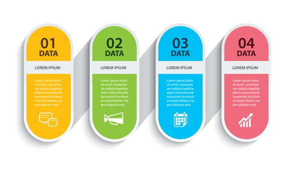 Oval infographics timeline paper with 4 data horizontal template