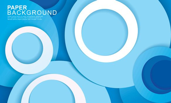 Paper layer circle blue abstract background. Curves and lines us