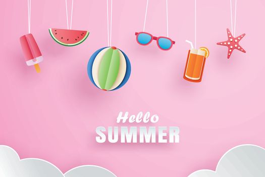 Hello summer with decoration origami hanging on pink background.